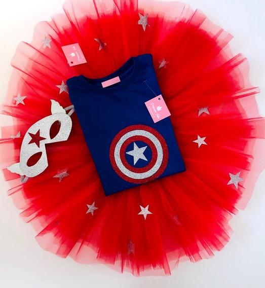 Disfraz Cumpleraños Capitan America Nenas De 2 A 12 Años
