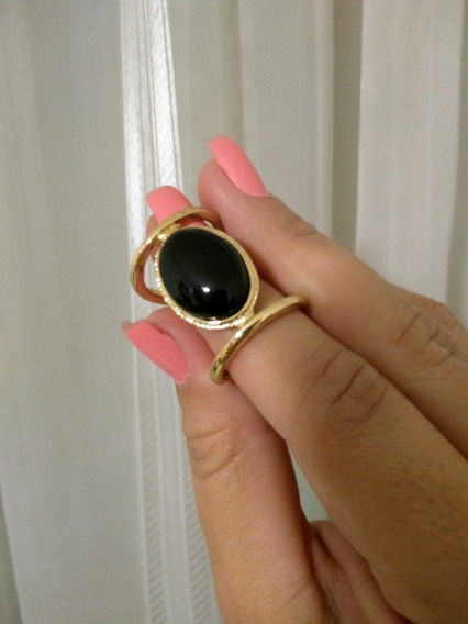 Maravilhoso Maxi Anel Feminino Aro 17 Biju De Luxo Pedra Negra / Moda Blogueira Bijoux
