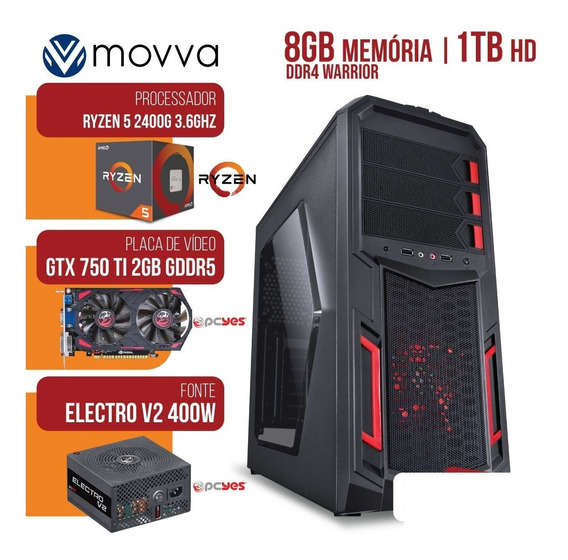 Computador Amd Ryzen 5 2400g 3.6ghz Mem. 8gb Hd 1tb Gtx 750ti 2gb Fonte 400w - Linux