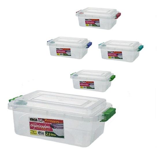 3 Un Potes Plastico C Trava 2,5 L + 5 Un De 1,5 Lt Alimento
