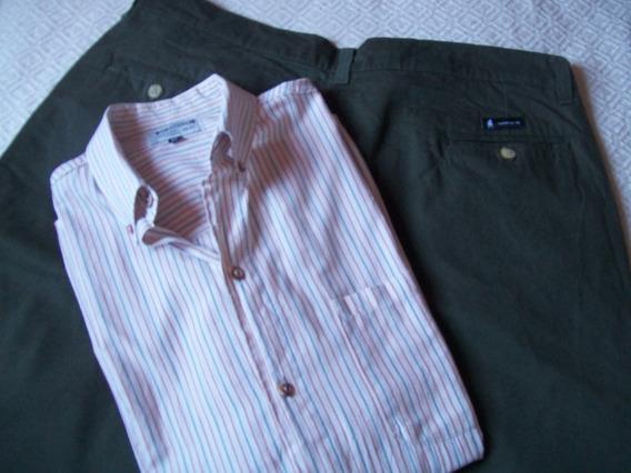 Bermuda Hombre C/cierre Mas Camisa M/c Set X 2 Prendas