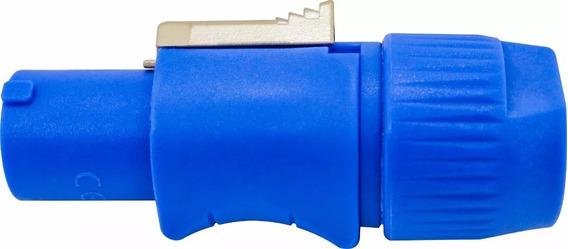 Kit 10 Conectores Plug Macho Powercon Azul