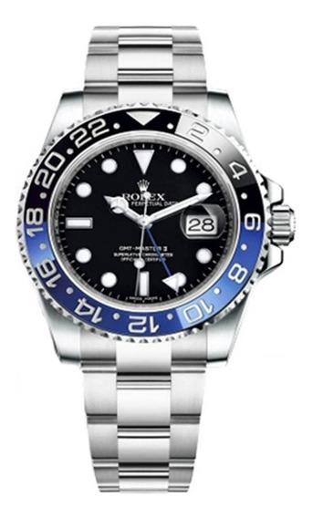 Relógio Masculino Rolex Base Eta Gmt Batman Azul/p Aço 904l