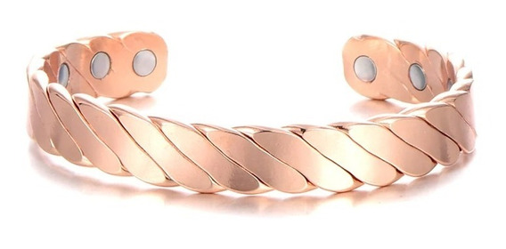 Pulseira Magnética Trançada Rosé Gold 6 Imãs - Saúde Energia
