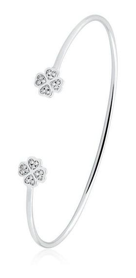 Bracelete Trevo Da Sorte Com Zirconias