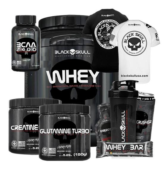 Whey 2kg + Creat + Glutamina + Bcaa + Camiseta - Black Skull
