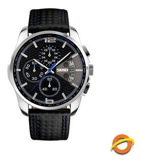 Reloj Skmei Analogico Cronometro Fecha Cuero 9106