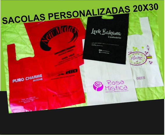 Sacolas Plásticas Personalizada 20x30 Alça Vazada 1.000 Pçs