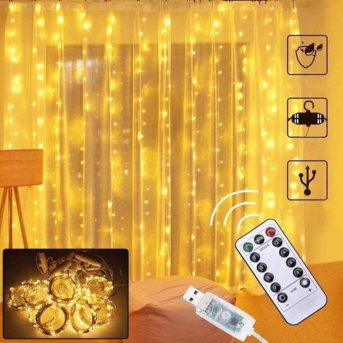 Cortinas Decorativas Luz Led Control Remoto 3x3m 300 Leds