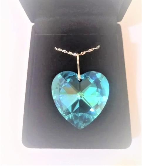 Colar Coração Cristal Swarovski Blue Ab 2,8cm Em Prata 925
