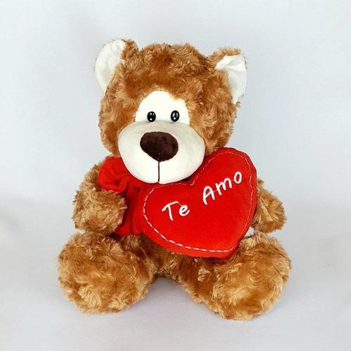 Imagem 1 de 3 de Urso Ursinho De Pelúcia 25cm Coração Te Amo Caramelo