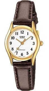 Ltp-1094q-7b4rd - Reloj Casio Pulso Cuero Caja Dorado