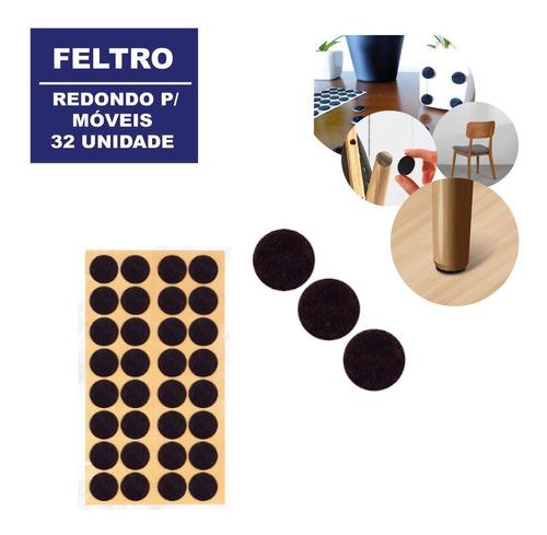 Feltro Moveis Adesivo Redondo C/ 32 Unidades Pronto Entrega