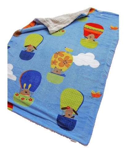 Imagen 1 de 4 de Cobertor Con Borrega Infantil 1.00x1.30 Modelo Globos Azul