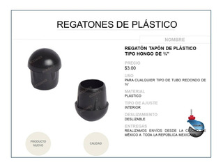 Regatón Tapón Redondo Tipo Hongo De Plástico 3/4