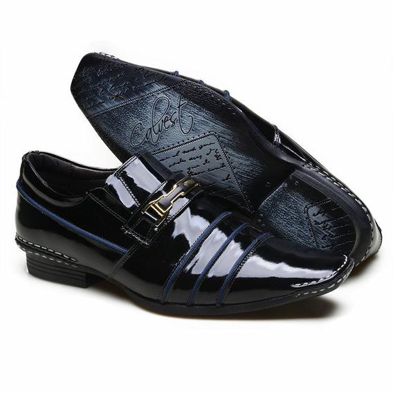 Sapato Social Em Couro Calvest 1750c786 Preto E Royal