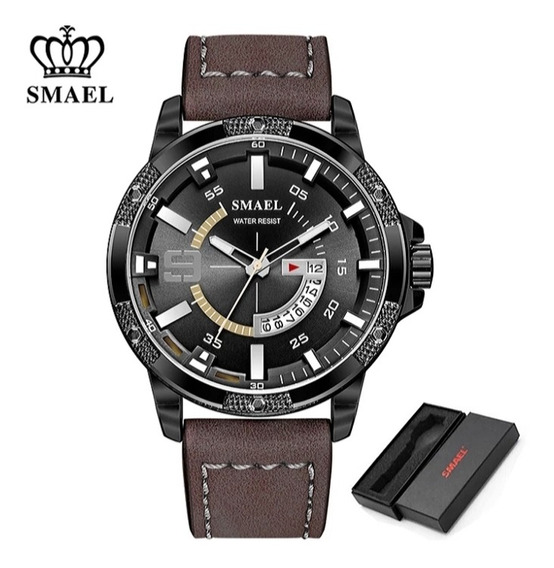 Relógio Masculino Smael Couro Coffe Dark S9100 Frete Grátis