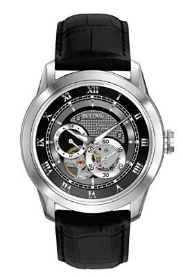Relógio Masculino Bulova Preto Bva Couro Automático Original
