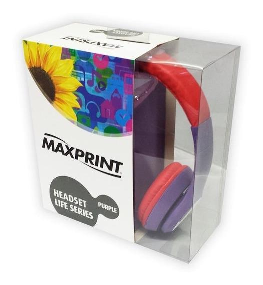 Fone De Ouvido Headphone Maxprint Life Series Roxo/vermelho