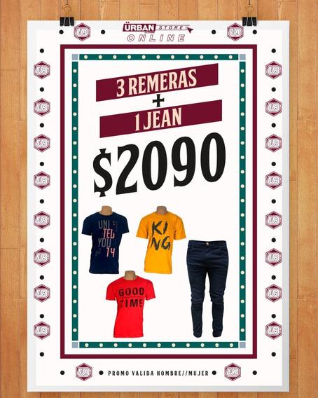 Pack X3 Remeras Estampadas + 1 Jean Elastizado Hombre