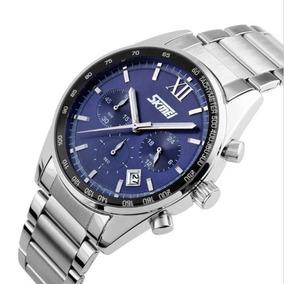 Relógio Masculino Skmei 9096 Analógico Prata E Azul Com Nf