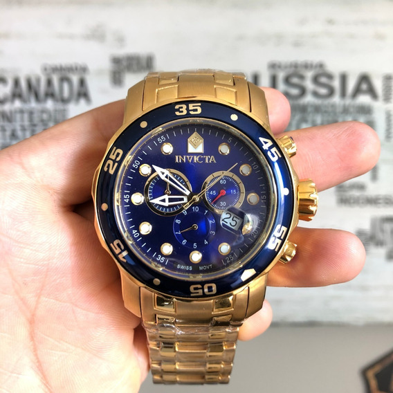 Relógio Invicta Pro Diver Plaque Ouro (0073) (21923)original