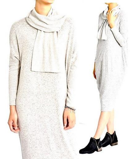 Vestido Polera Con Bufanda Largo Gris Moda Diseño Casual