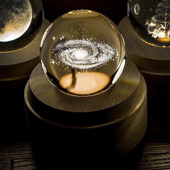 Bola De Cristal 3d Luminosa Caja De Música Con Base De Mader