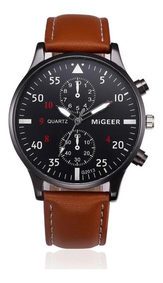 Relógio Masculino Pulseira Couro Migeer Original Promoção