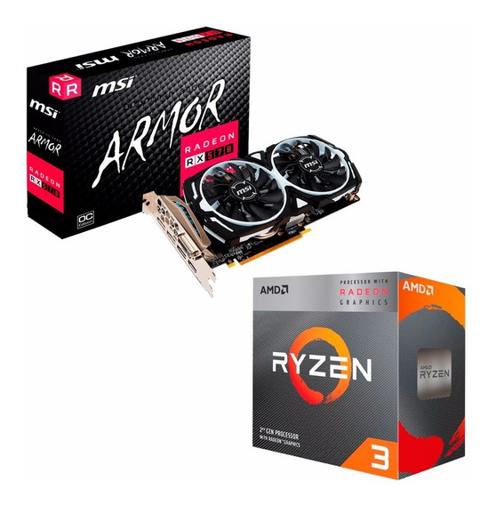 Combo Placa Video Radeon Rx 570 4gb + Ryzen 3 3200g Mexx 1