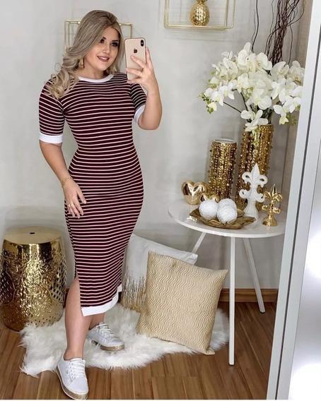 Vestido Evangelico Maxi Midi Moda Jovem Listrado Feminino