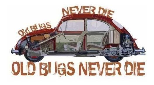 Adesivo Fusca Old Bugs Never Die Carro Antigo Retro Kit 30pc