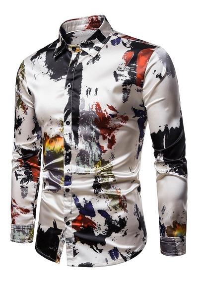 Camisa Homens Seda Pintar Splatter Imprimir Manga Longa