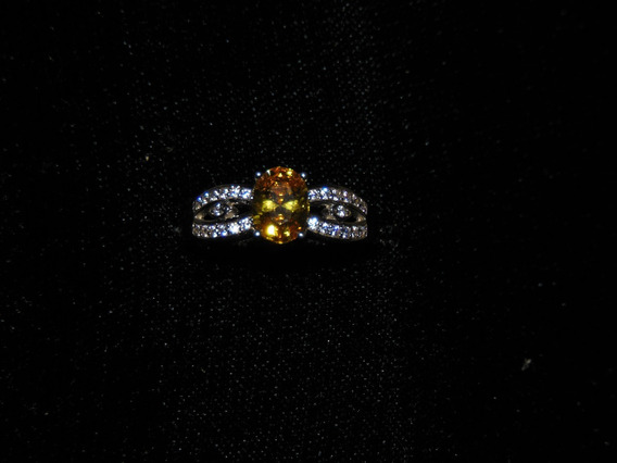 Anillo De Plata .925 Esterlina Con Citrina Natural