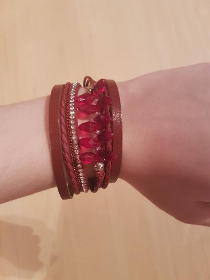 Pulseira Bracelete Vermelho Bordo Strass Moda Tendencia