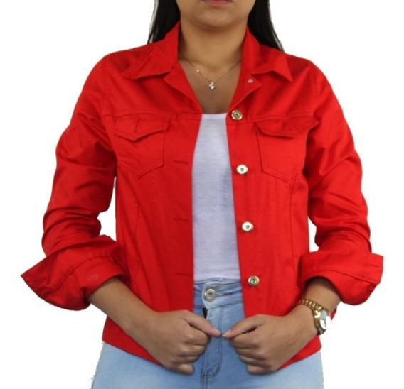 Jaquetinha Jeans Sarja Feminina Vermelha