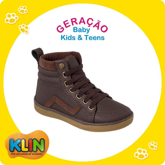 Sapato Bota Infantil Cano Alto Café Klin Flyer Street- 20939