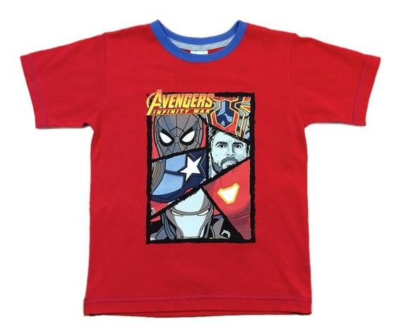 Playera Avengers De Marvel Oficial Para Niños Manga Corta