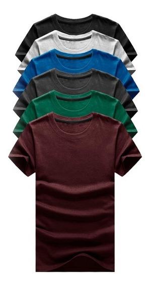 Kit 06 Camisetas Masculina Camisa Slim Lisa Basic Basica 100 Algodão Premium