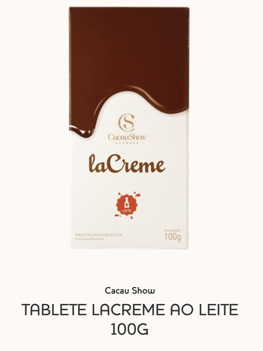 Tablete Lacreme Ao Leite 100g