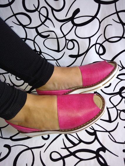 Sandalia Cuero Color Fucsia Para Mujeres Moda Envío Gratis