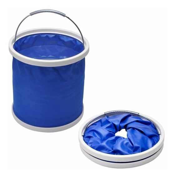 Balde Plegable Impermeable 10 Lts Azul Portatil Full Racing