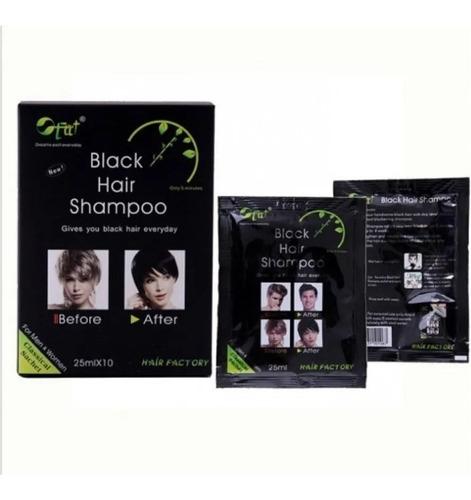 Shampoo Tinte  Pinta Canas En 5 Min - Black Hair  X Caja