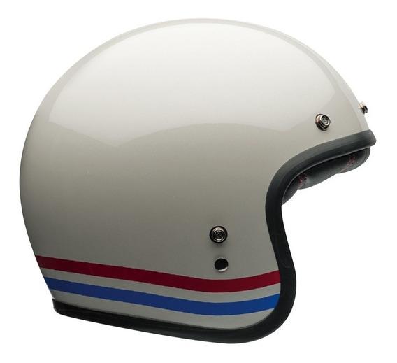Capacete Bell Custom 500 Stripes Pearl Aberto Branco Rs1