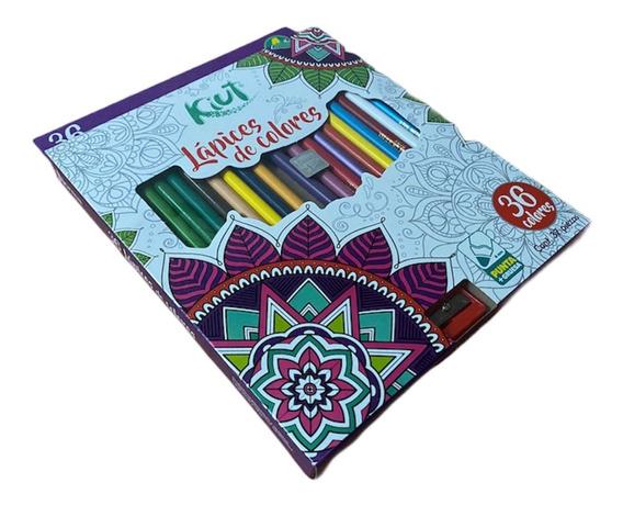 36 Lápices De Colores Y Sacapuntas - Marca Kiut + Regalo