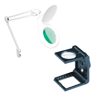 Lupa Bancada Led 8d + Lupa Conta Fios Diâmetro 90mm Solver