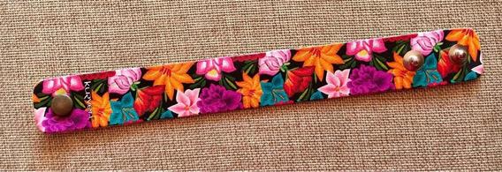 Pulsera De Piel Flores Oaxaca Diseño Mexicano