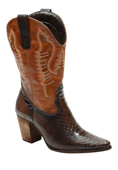 Bota Feminina Country Texana Cano Longo Couro Cobra 2614