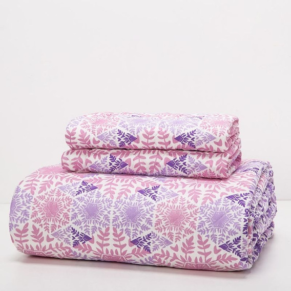 Cubrecama Arredo Queen Size Copos - Color Rosa