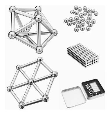 2 Brinquedos Educativo Magnético De Montar Imã 63 Peças